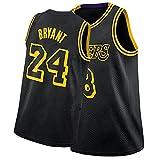 Laker 24# Kobe Bryant Camiseta De Baloncesto para Hombre, Los Fanáticos Conmemoran BordadaTranspirable De Malla Basketball Jersey Black Mamba-S