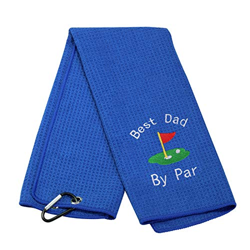 JXGZSO Dad Golf Towel Embroidered Golf Towel Gift Golf Father Gift Embroidered Golf Towel with Clip (dad White Words-Blue)