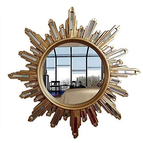 PIVFEDQX Espejo de Pared Dorado con diseño de Rayos de Sol, Accesorio Redondo Decorativo, para Colgar en el hogar, Porche, Porche, Espejo de Resina Decorativa, gris-19 Pulgadas