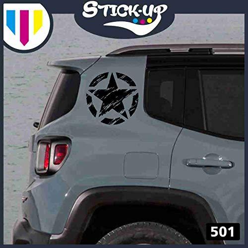 Kit Adesivi - 2 Pezzi Stella Militare Vintage fiancata Posteriore - 20x20 cm - Fuoristrada 4X4 Fiancate Cofano Jeep Renegade Suzuki Offroad Adesivi Stickers Fiancate AUT Decal (Nero)