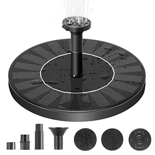 Solar Fountain, Free Standing Solar Water Pumps with 4 Different Spray Pattern Heads for Pond, Pool, Garden