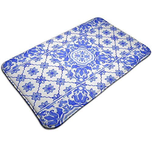 N/A Badmatten Antislip Matten Portugees Azulejo Tegels Blauw Wit Deurmatten Super Absorberend Binnen/buiten Gebruikt 19.5