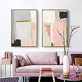 Eryan Cartel Minimalista Cuadro Bloque Color Rosa Y Gris Negro Abstracto Lienzo Arte de Lona Imprimir Sala de estar Decoración Pintura (60X80CM) x2 Sin marco