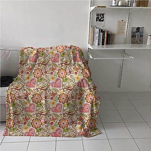 Flannel Blanket Throw Floral Wrinkle and Fade Resistant Lovely Daisies Butterfly Celebration Petals Hearts Blooms Girlish Print for University Flat Coral Peach Ruby Yellow 54x72 Inch