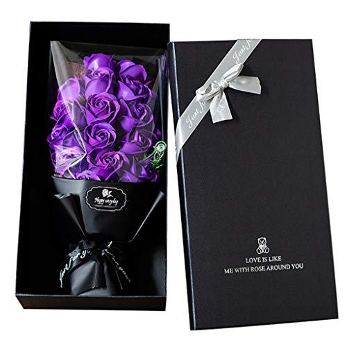 Detrade Valentinstag DIY Seife Blumen Geschenk Rose Box Bouquet Hochzeit Home Festival Geschenk (Purple)