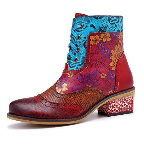 MGM-Joymod Señoras empalme patrón de cuero grueso bloque Tacones hechos a mano retro estilo étnico Comfortabe con cordones botines