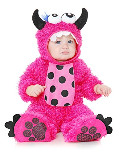 Charades Little Monster Madness Costume Jumpsuit, Hood, and Footsies Baby Costume, -Hot Pink, Infant