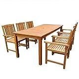 Festnight Salon de Jardin 1 Table et 6 Chaises d'extérieur en Bois Acacia Massif Marron