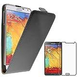ebestStar - Funda Compatible con Samsung Galaxy Note 3 GT-N9000, N9002, N9005 Carcasa Abatible PU Cuero, Ultra Slim Case Cover, Negro +Cristal Templado Pantalla [Aparato:79.2x151.2x8.3mm 5.7']