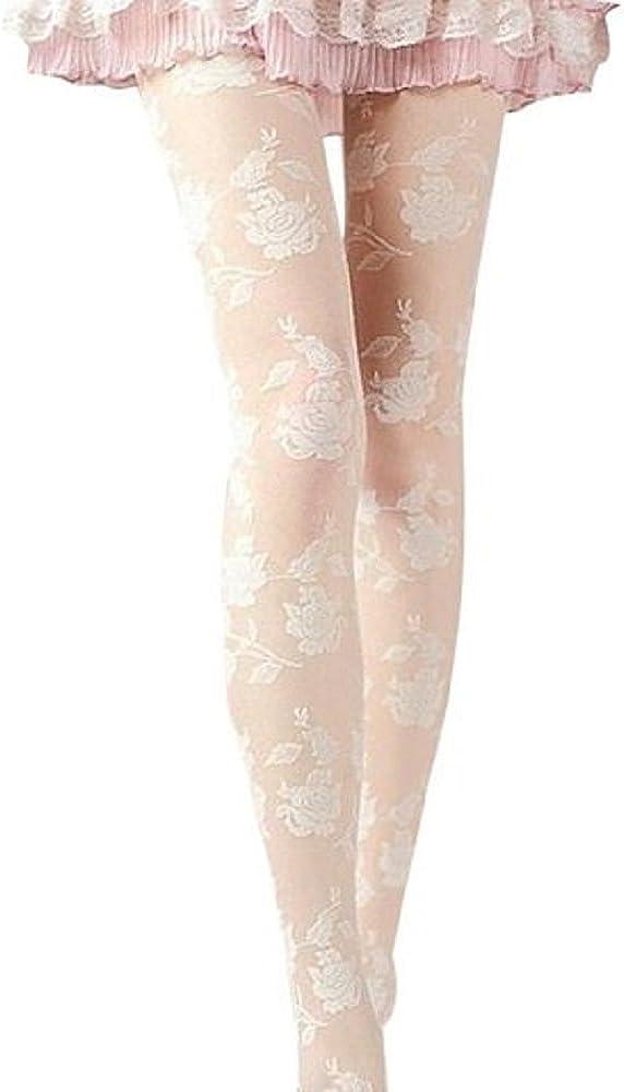 bjduck99 Women Sexy Sheer Rose Pattern Tight Lace Pantyhose Stockings