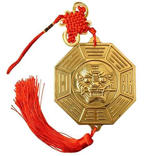 Bagua spegel 10.6cm Ren koppar 12 Zodiac tiger huvud bite svärd skvaller spegel plan spegel heminredning Kinesiska Feng Shui-speglar