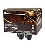 The Human Bean Nespresso Capsules Original Line. 50 Count Espresso Coffee Pods. Decaf, Light, Medium and Dark Roast Boxes for Nespresso Machine. Perfectly Brewed Coffee Capsule. (Dark Espresso)