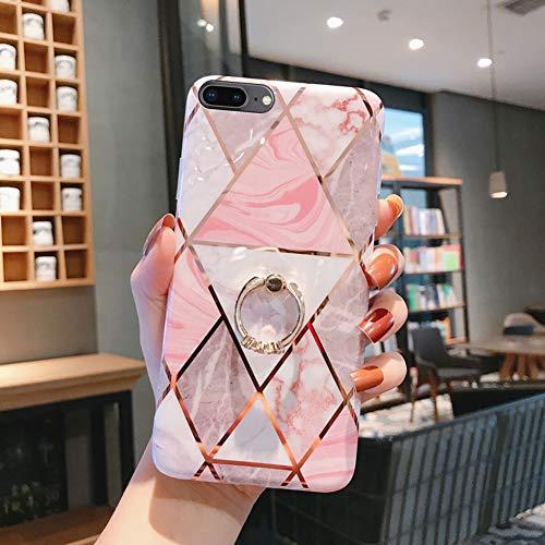 QPOLLY - Carcasa de silicona para iPhone 7 Plus/8 Plus con anillo, Marbre Rose-3