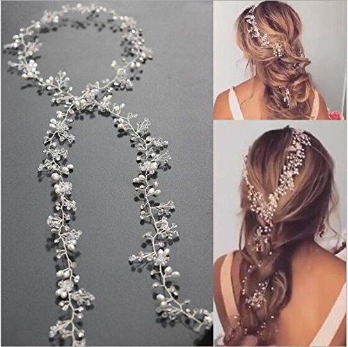 Jovono Ornement de cheveux Bijoux de cheveux pour mariée Accessoires pour cheveux Serre-tête pour mariée (80 cm)