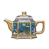 YFFSBBGSDK Teiera Esagonale con Motivo a Fiori e Uccelli Antica pentola in Ceramica con Manico