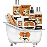 Relaxing Spa Gift Baskets - Bath and Body Gift Set for mom, Mother's day Coconut Spa Kit includes Bath Bombs, Message Oil, Body Scrub, Bath Salt, Body Lotion, Shower Gel and Scrub Brush
