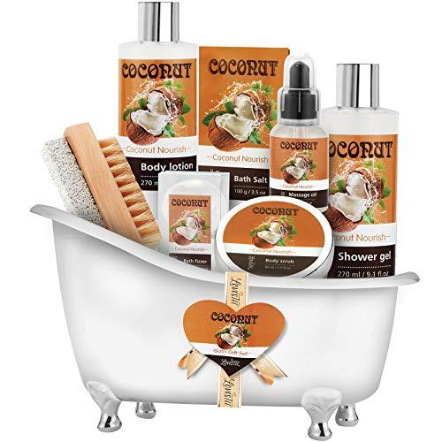 Spa Gift Basket-Bath and Body Gift Set,Coconut For Women-Spa Bath Kit & Bath Gift Basket Birthday...