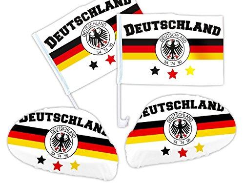 Alsino Drapeau voiture l'Allemagne Drapeau pour voiture, de 4 pièces Set de 03 Revêtement miroir