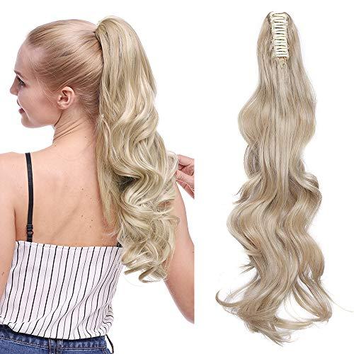 """Postiche Queue de Cheval Ondulé A Pince - Blond foncé/Blond très clair - 24"""" Ombre Ponytail Extension Claw On Extension Queue de Cheval Cheveux Synthe"""