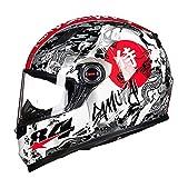 Coole Persönlichkeit Ninja Integralhelm Motorradhelm, Atmungsaktiv Warm Erwachsene Damen Herren Cruiser Helmet Jet-Helm ECE Genehmigt L-3XL (55-62cm), Weiß, Rot, Gelb,Weiß,XXXL