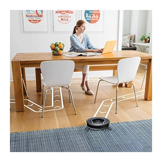 Shark ION Robot App-Controlled Robot Vacuum, RV761 - Black/Navy Blue (Renewed) 6 Schedule cleanings and control robot with Shark Clean(tm) app, Alexa, and Google Assistant. Powerful cleaning with more suction than Shark RV750. Multi-surface brushroll captures debris and hair on carpets and hard-floors.