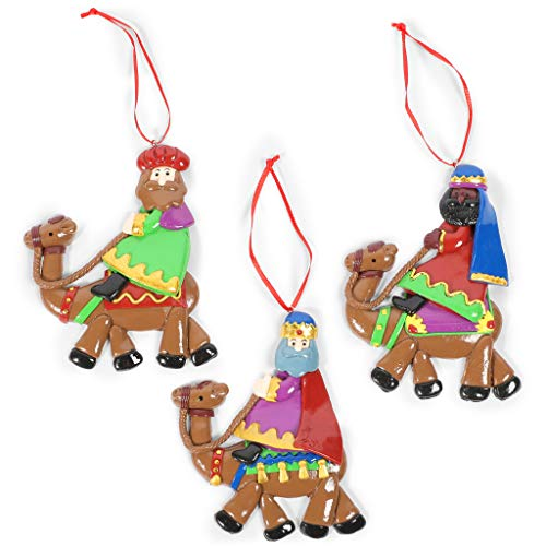 Okuna Outpost Three Kings Christmas Tree Ornaments (4 x 4.5 in, 3 Pack)