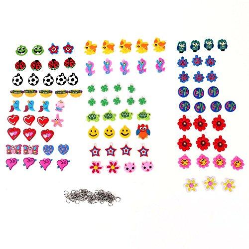 Tinksky - Set di 100 charm per realizzare braccialetti di gomma a mano - Vari soggetti