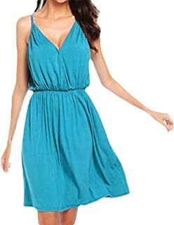 Mogogo Womens Fit Summer V Neck Tunic Sling Solid Color Casual Dress