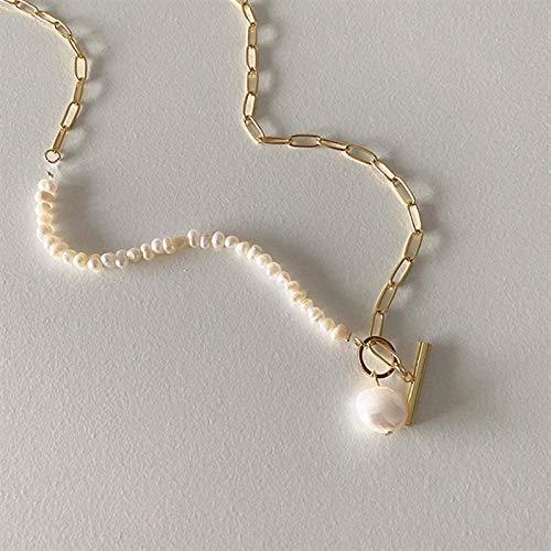 Shangwang - Colgante de perla de agua dulce, estilo vintage, con colgante de pendientes para mujer, joya de regalo asimétrico
