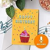 Cupcake Birthday Card With Music | Birthday Greeting Card, Recordable Birthday Card, Musical Birthday Card, Birthday Greeting Card Cupcake 00005 (10 Second Recordable)