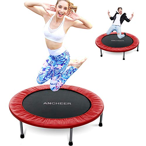 ANCHEER Foldable Mini Trampoline Rebounder, Quiet and Safe Bounce Spring Mini Bouncer Fitness Trampoline Rebounder for Kids Adults in Home/Garden/Office Cardio Trainer (Red, 38inch Folding Twice)