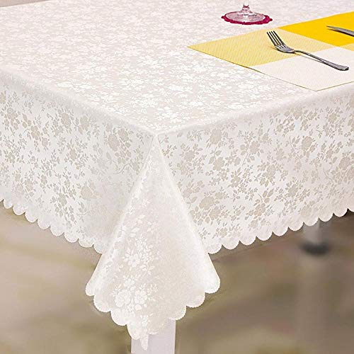 Yinaa Water Resistant Tablecloth Thick and Wear Resistant Rectangular Table Cover Outdoor Dining Table Cloth Creamy White 100×100cm