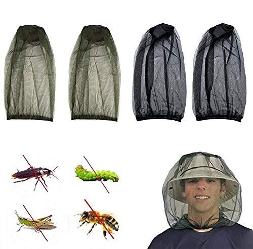 JINXM 4 Pakung Stück Moskito Kopfnetz Feinmaschig für Imkerei Outdoor Wandern Camping Angeln
