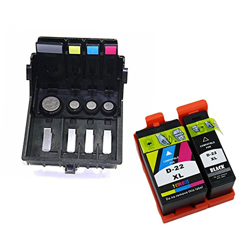 LiC-Store Replacement Dell 21 ink cartridge + 4-slot Printhead Print Head for DELL P513w V313 V515w V313w V715w Office Printer