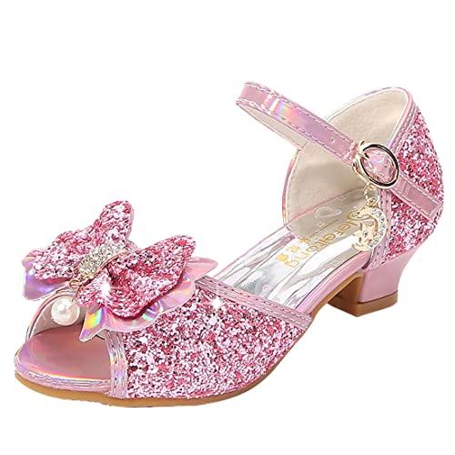 New front Ragazza Costume Sandali con Arco e Paillettes Eleganti Glitter Scarpe da Principessa con Paillettes Scarpe Eleganti Bambina con Tacco per Ballo e Festa