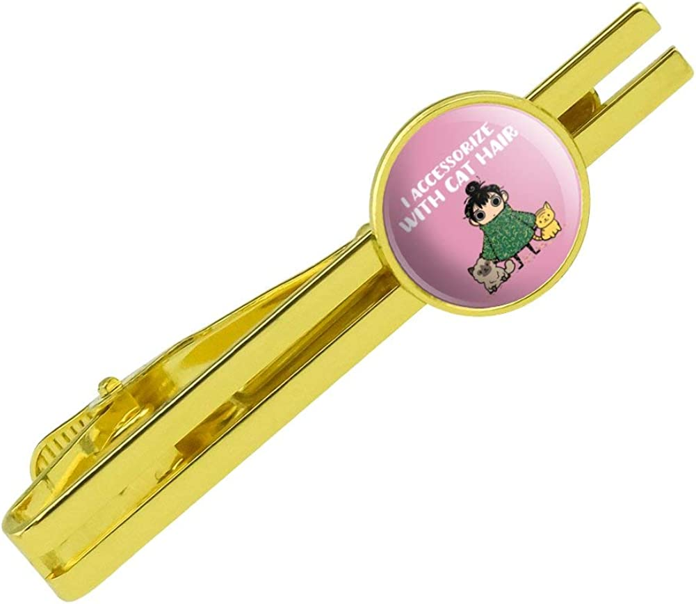 GRAPHICS & MORE I Accessorize with Cat Hair Fur Round Tie Bar Clip Clasp Tack Gold Color Plated
