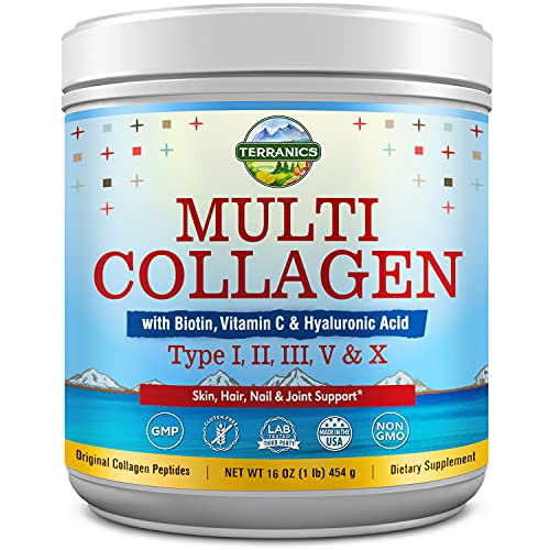 Multi Collagen Powder Type I II III V X with Biotin Vitamin C Hyaluronic Acid, Paleo & Keto Friendly, Skin Hair Nail & Joint Support, Bovine Marine Chicken & Eggshell, Non-GMO Gluten-Free, Original