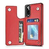 Suhctup - Custodia a portafoglio per Huawei P30, in pelle con fessure per carte di credito, in morbido silicone TPU, antiurto, protezione posteriore multicolore argento Huawei P30 6.5''