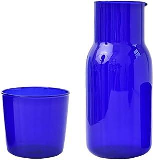 sahadsbv Cabilock Lot de 2 carafes à eau en verre avec gobelet pour la maison, le bureau, l'hôtel