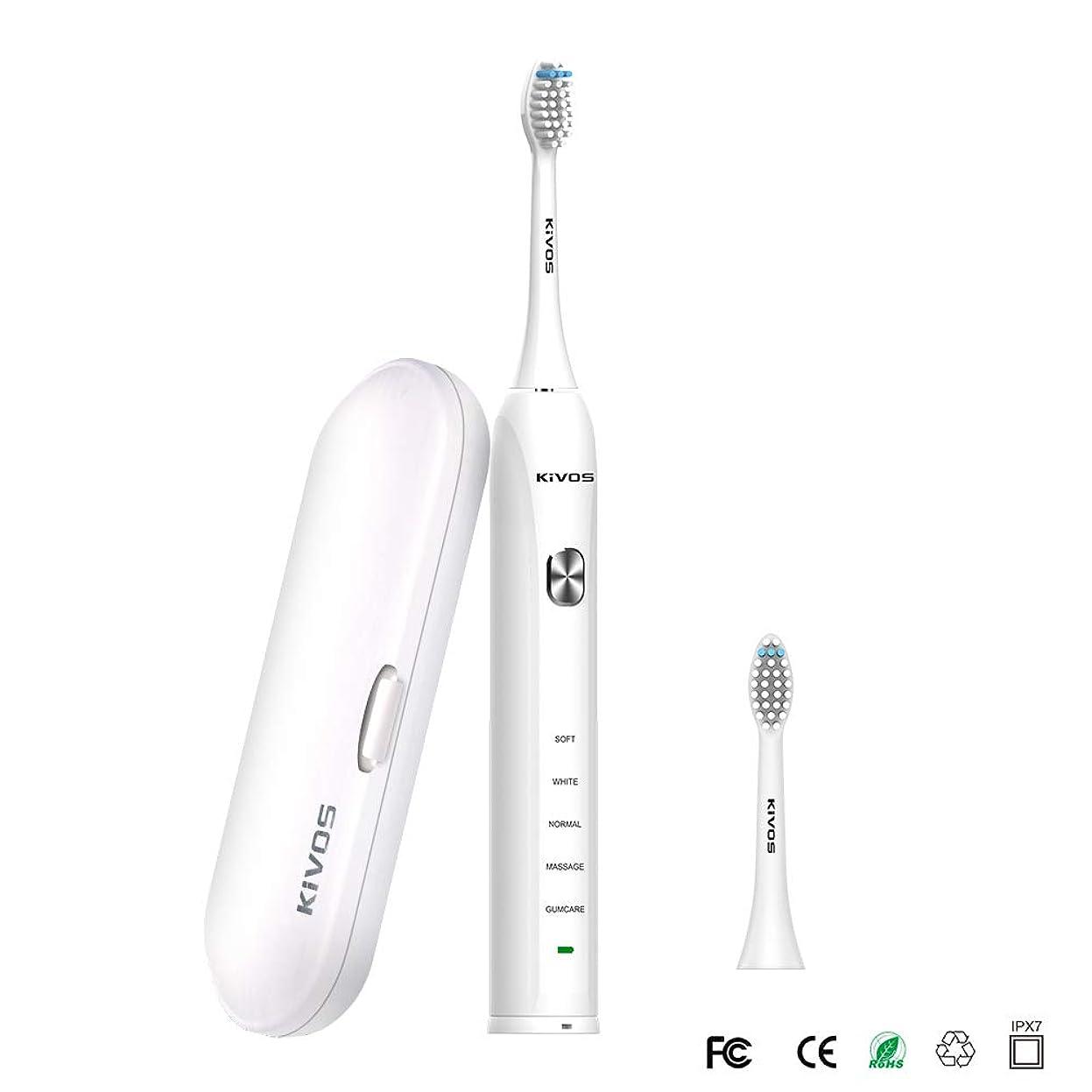 追い払う愛情深いたぶんKIVOS 電動歯ブラシ音波歯ブラシ UV 除菌機能付き電動歯ぶらし歯ブラシ除菌器 歯ブラシUV紫外線除菌収納ケース歯みがき 電動はぶらし IPX7防水 旅行出張に最適