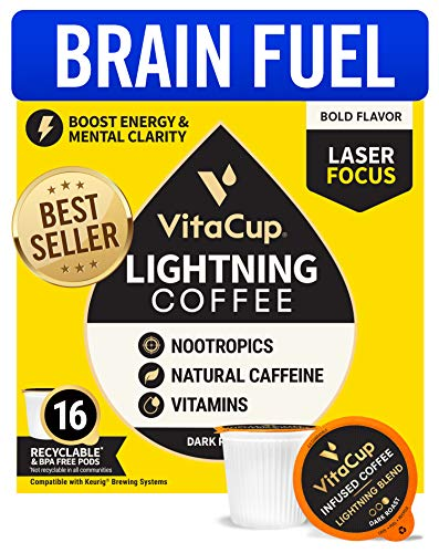 VitaCup Lightning Dark Roast Coffee Pods with 2X Caffeine, Nootropics and Vitamin B1, B5, B6, B9, B12, D3 Brain Booster in Single Serve Pod Compatible with K-Cup Brewers Including Keurig 2.0, 16 Count