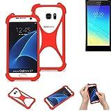 K-S-Trade® Handyhülle Für TP-LINK Neffos Y5S Schutzhülle Bumper Silikon Schutz Hülle Cover Case Silikoncase Silikonbumper TPU Softcase Smartphone, Rot (1x)