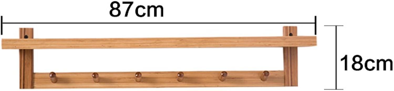LIAN Rack Shelf Modern Simple 5 Hook Wall Shelf Living Room Shelf Floating Bedroom Storage Unit Shelf Bamboo, Primary color(29.1  4.7  7.1 inch) (color   6 Hooks)