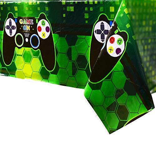 WERNNSAI Mantel Tema de Videojuegos - 4 PCS 110 x 180 CM Mantel Desechable de Plástico Impreso, Artículos de Fiesta para Niños Juego Geek Gamer Temático Decoración de Fiesta