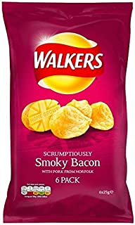 Walkers Smokey Bacon Crisps 25g x 6 per pack - Pack of 2