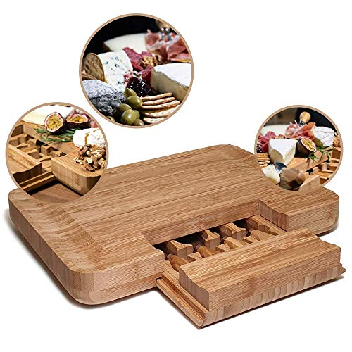 QUVIO Kaasplank met messenset 4-delig/Tapasplank/Bamboe/Ook ideaal als charcuterie plank of kaasplankje - Bruin