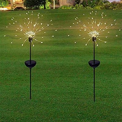 Honche 2Pack Solar Christmas Firework Garden Lights Outdoor Decorative Waterproof Warm Cross Lighting String (120L-10CM-WW-ROUND)