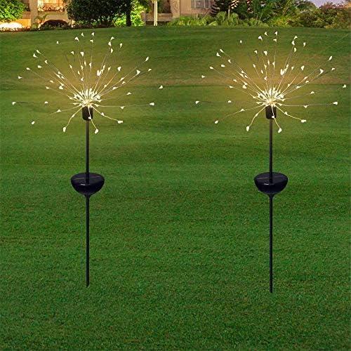 Honche 2Pack Solar Christmas Firework Garden Lights Outdoor Decorative Waterproof Warm Cross product image