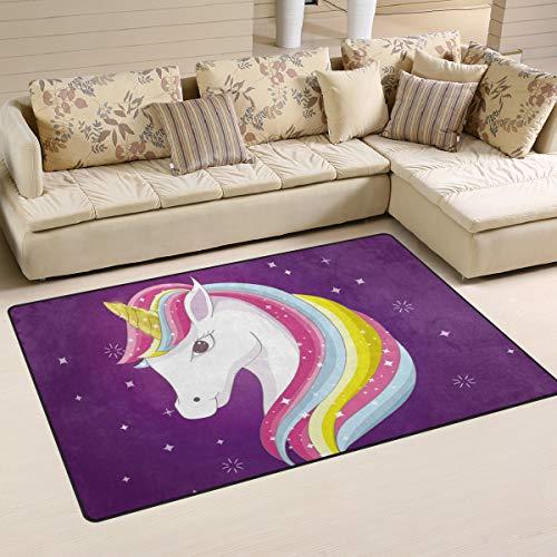 ZZAEO Cute Lovely Rainbow Unicorn Purple Area Rug Polyester Soft Carpet Non Skid Floor Mat Rugs for Living Room Dorm Girls Bedroom Home Decor - 60 x 39 inch