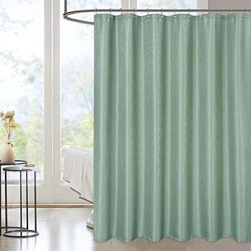 LinTimes Waschbar Duschvorhänge Salbei Waffel Bad Vorhang Shower Curtain aus Polyester Duschvorhang Wasserabweisend Blickdicht Badewannevorhang, B183cm x H198cm